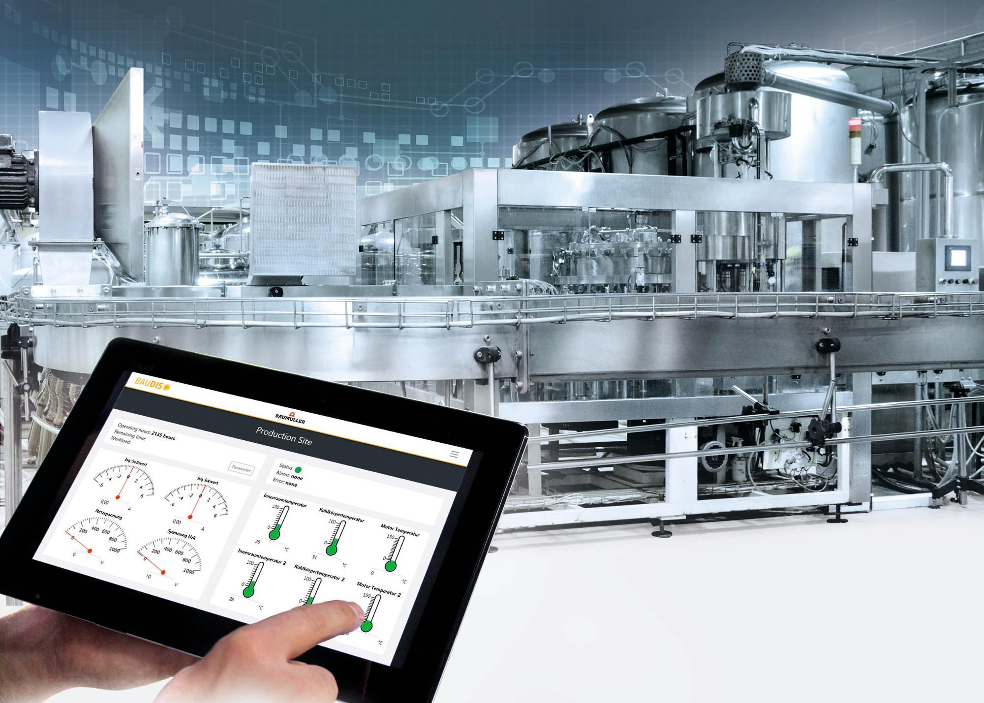 Produktionsoptimierung mit BAUDIS IoT: Kontinuierliche Erfassung von Antriebs- und Prozessdaten aus verschiedenen Produktionslinien weltweit.