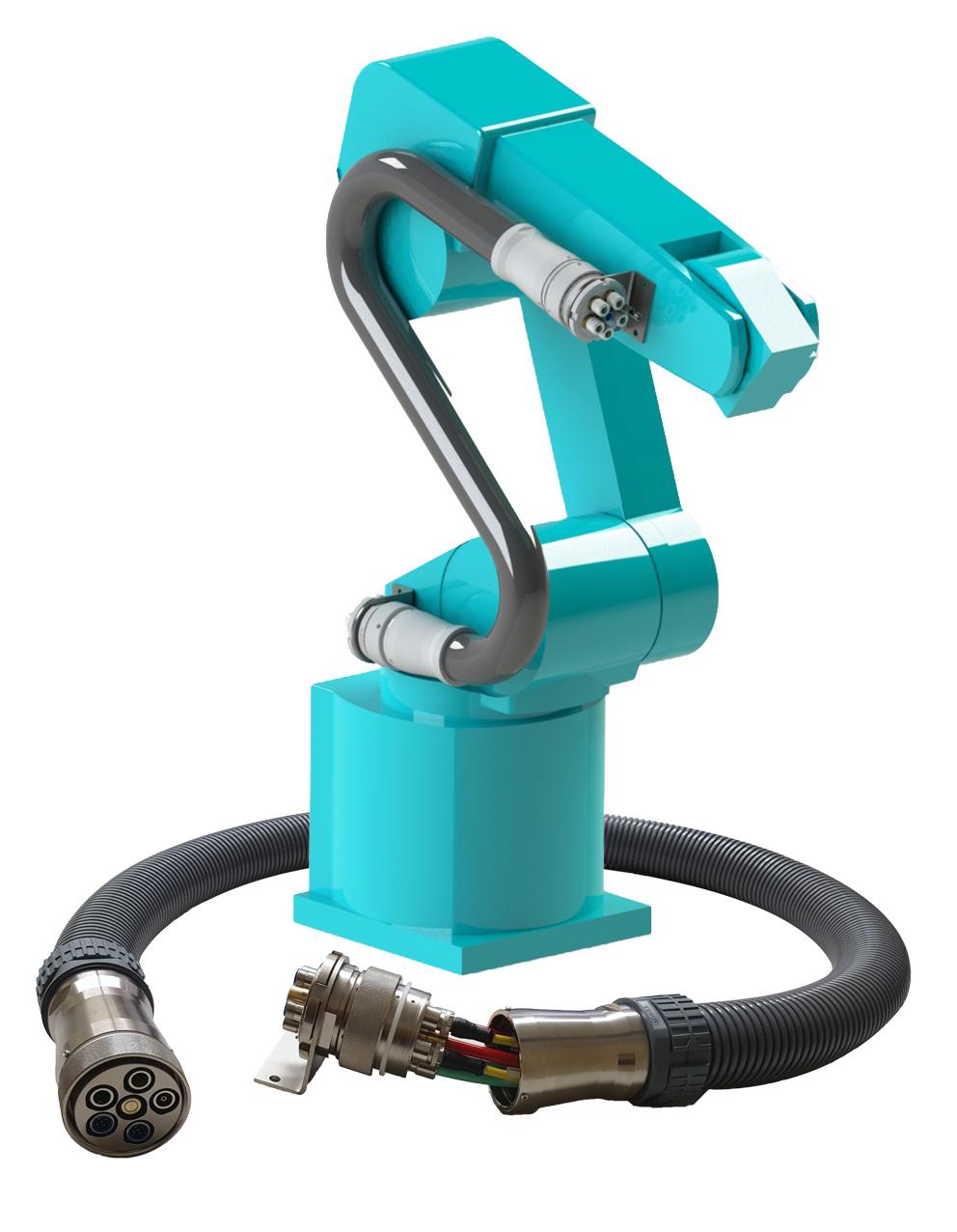 Die Multiline E Wechseleinheit für Roboter ermöglicht die Montage und Demontage der kompletten Versorgungsleitungen in wenigen Minuten.