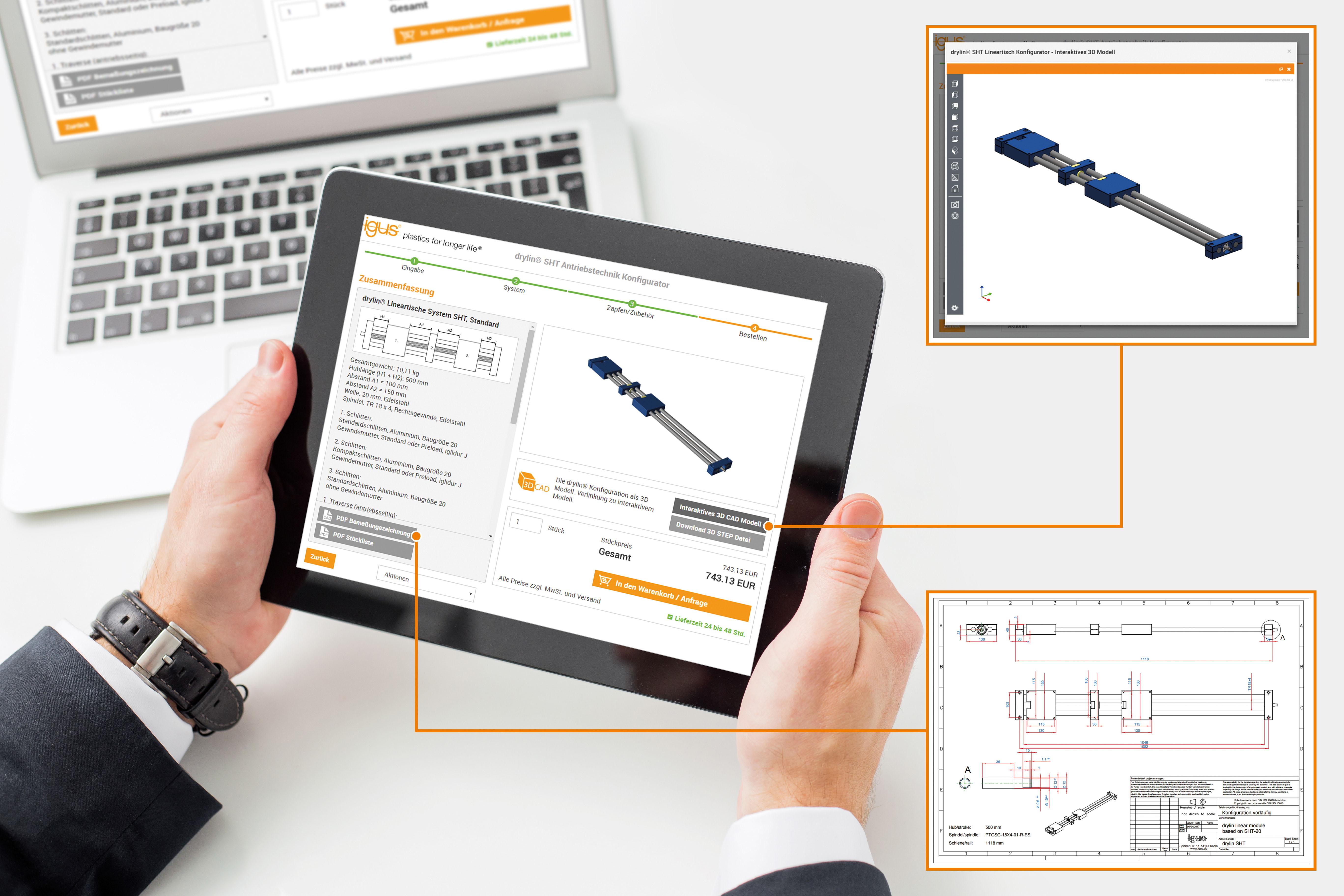 Mit dem neuen drylin SHT Konfigurator konfigurieren Kunden online ihren individuellen Lineartisch in nur wenigen Schritten und erhalten unter anderem eine 3D-Ansicht, ein bemaßte technische PDF-Zeichnung sowie ein 3D-CAD-Modell.