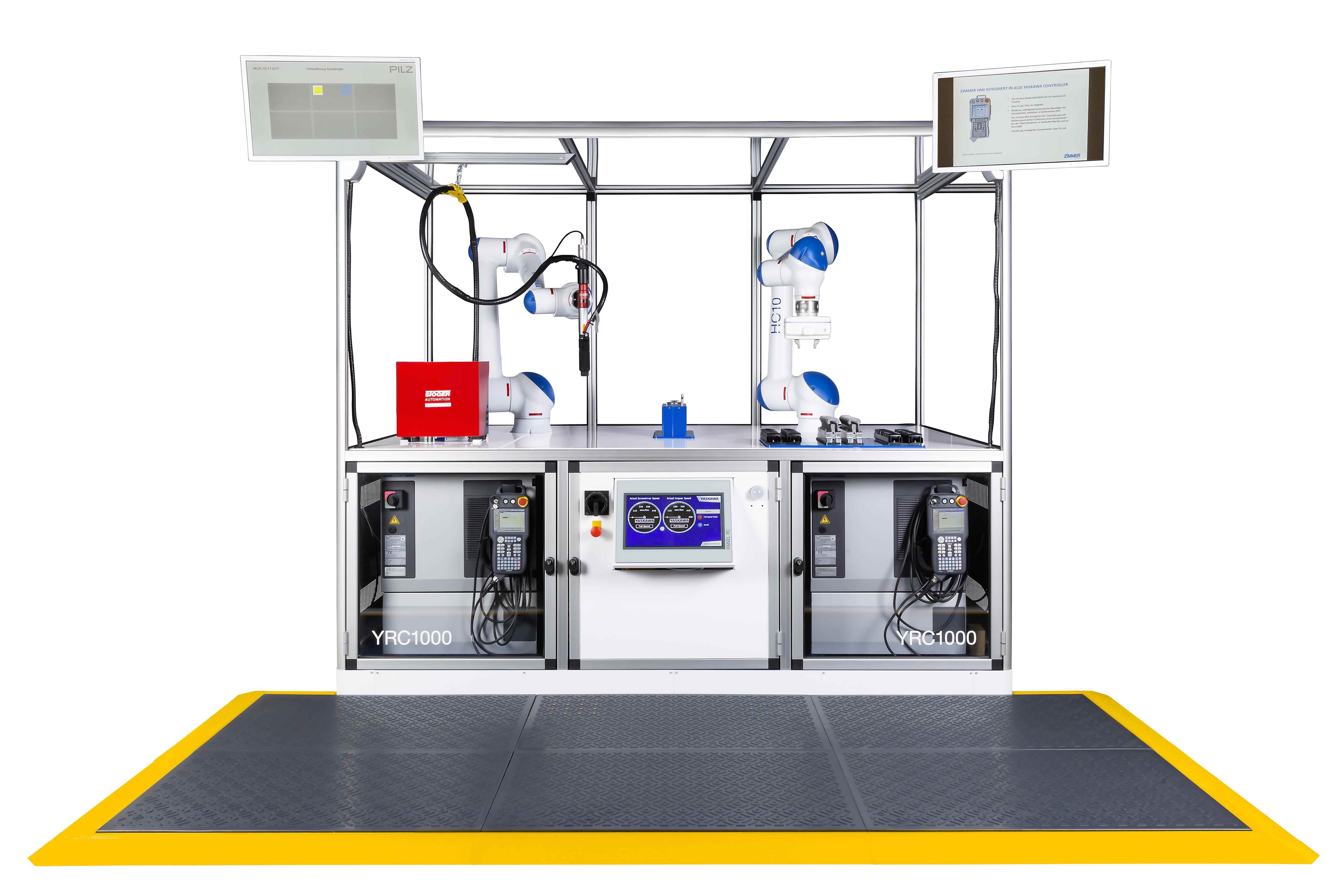 Im digitalen Umfeld präsentiert Yaskawa auf der Hannover Messe auch aktuelle Automatisierungslösungen mit Motoman-Industrierobotern. U.a. werden zwei Motoman HC10 in einer Showzelle Flaschenöffner montieren und als Give-Away an die Standbesucher verteilen.